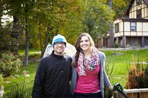 Me at my composting photo shoot, alongside Garden Group art director, Nick Crow. See, I even have gardening gloves and shovel!